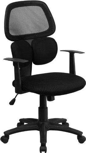 Mid-Back Black Mesh Swivel Task Chair with Flexible Dual Lum