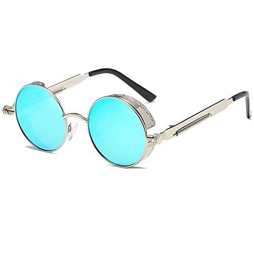 soleil Lunettes SteamPUNK Ice Retro Vintage de MEIHAOWEI Blue Silver V400 qnU1xwntp