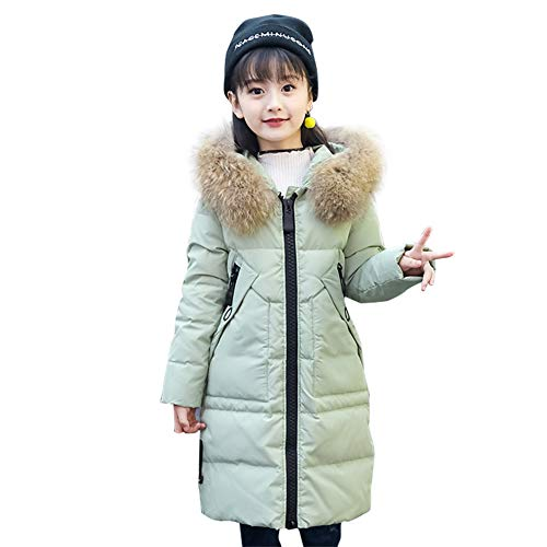 SITENG Girls' Kids Winter Fur Hooded Down Coat Puffer Jacket Parka 9 10 11 12 Years Overcoat for Big Girls (Jacket Layer Puffy)