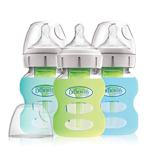 Dr. Brown's Options+ Wide-Neck Glass Baby Bottles in Silicone Sleeve, Mint/Green/Blue, 5 Ounce, 3 Count ()