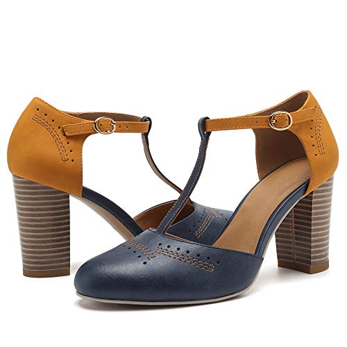 Geddard Heeled Sandals for Women Vintage Chunky Heels T Strap High Heels Cut Out Mary Jane Pumps Dress Shoes - Heel Mary Jane Pump High