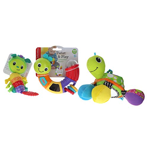 Infantino Topsy Turtle Mirror, Twist & Play Caterpillar Rattle & Move & Soothe Chime Pal Bundle (Set of 3) (Pal Rattle)