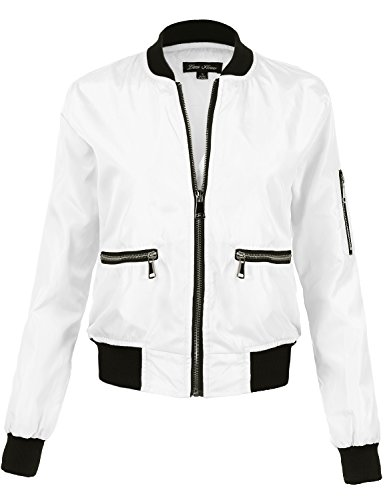 Long Sleeve Relaxed Fit Baseball Style Bomber Jackets