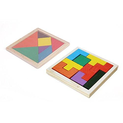 Kolamom Wooden Jigsaw Puzzle Tetris Russian Blocks and Seven Pieces Puzzles Tangram Brain Educational Toys Intelligence Development for Preschool Kids Children Toddlers