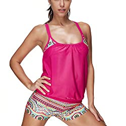 Hositor Swimsuits For Women Women S European And American Fat Women S Ruffled Sexy Slim Two Piece Swimsuit Pink