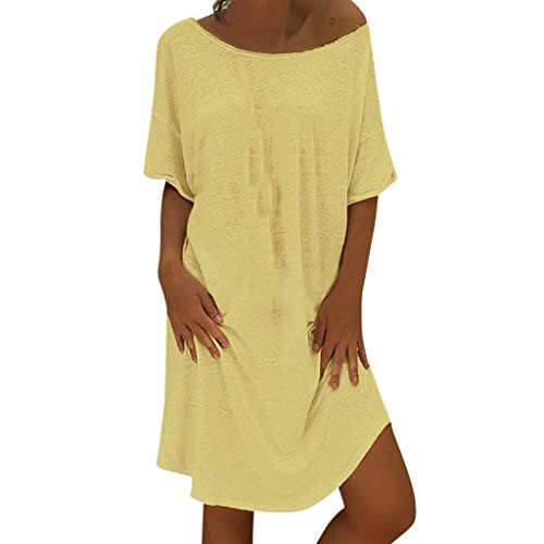 iNoDoZ Women's O Neck Casual Solid Above Knee Short Sleeve Loose Party Mini Dress Yellow