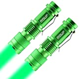 ROUP 2 Pack YP-200 Green Light LED Flashlight, Zoomable, Water Resistant, 3 Light Modes, Adjustable Focus Light for Camping, Hiking, Hunting, Night Vision and Emergency (Green Shell)