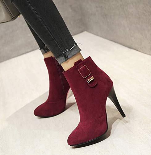 Absatz Weinrot Aisun High Damen Elegant Pgennig Spitz Boots Ankel Top Zehen w0rvq0HAx