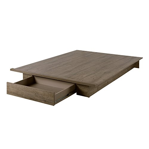 South Shore 11293 Holland Platform Bed (54/60''), Full/Queen, Black Oak