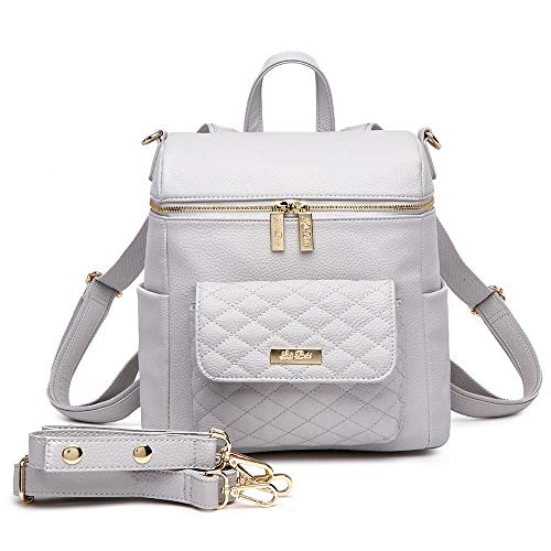 Petit Monaco Diaper Bag Backpack Vegan Leather, with Changing Mat and Stroller Straps, Luxury and Stylish (Stone Grey)