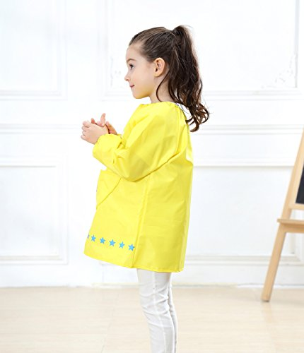 Kids Multifunctional Painting Smock Cute Plane Printing Children's Waterproof Pullover Long Sleeve Bib with Pocket Drawing Apron Yellow 4-6 T by DAWNTUNG (Image #3)