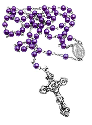 Nazareth Store Rosary Necklace Cross Pendant 6mm Purple Pearl Imitation Beads Silver Miraculous Medal with Large Catholic Cross in Velvet Pouch ()