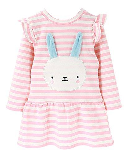 BomDeals Cute Toddler Girl Bunny Stripe Dress, Adorable Kids Sweet Shirt Top and Skirt Patchwork Dress(Pink,110)