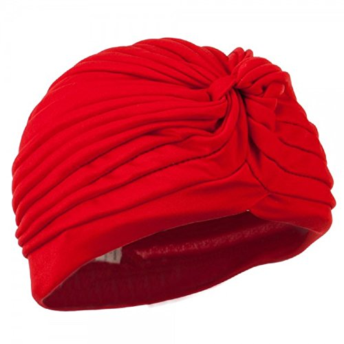 [Vintage Look TURBAN Spandex Pleated Gypsy Costume Accessory RED] (Arabian Costumes For Men)