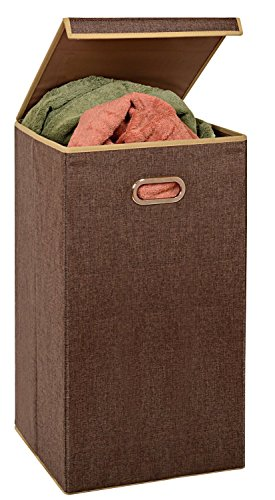 (Fold Away Clothes Laundry Hamper with Lid - Appealing Coffee Color, 2 Load Capacity, Moisture-Resistant Liner, 2 Inset Handles for Easy Carrying and Attached lid with Magnetic Flap.)