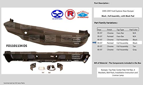 Reflexxion FO1101134DS, Replacement for 1995-1997 Ford Explorer Rear Painted Bumper - Paint to Match, Full Assembly with Black Pad -  Reflexxion Diamond Standard