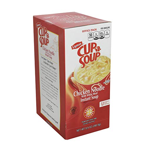 Lipton Cup-a-Soup Chicken Noodle Soup Mix 0g Trans Fat, 22 x 9.9 oz pouches, Pack of 4