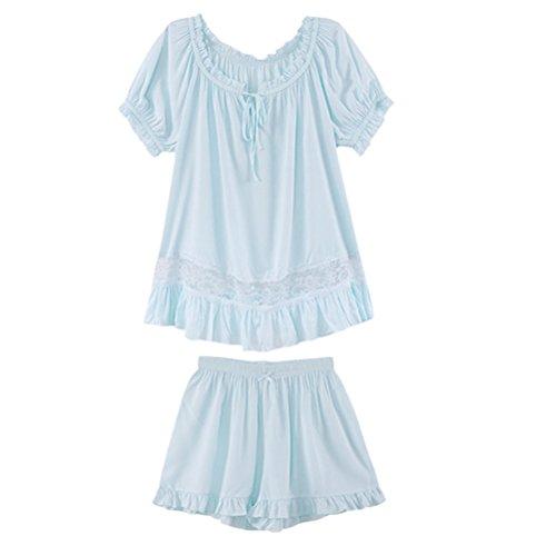 Zhhlinyuan Two Piece Set Casual Sleepwear Pyjamas Woman Summer Short Sleeve Nightwear Blue