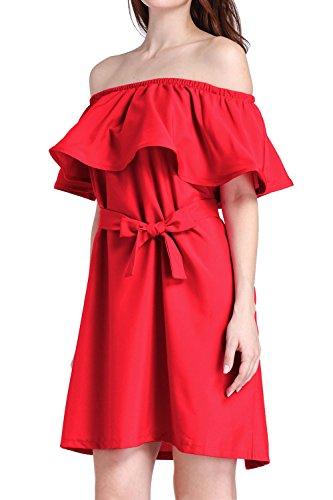 Vestido elegante mosaico suelto de las mujeres Red