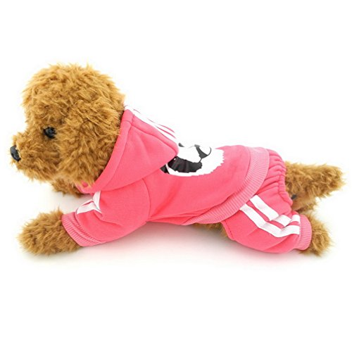 Ranphy Small Dog Fleece Sweatshirt Hoodie Puppy Jumpsuit Hooded Outfits Warm Sweater Yorkie Chihuahua Apparel Girls Boys for Autumn Winter Pink Size XS