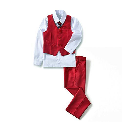 Yuanlu 4 Piece Youth Kids Boys' Vest and Pants Set Dresswear Outfit Red Size 3T