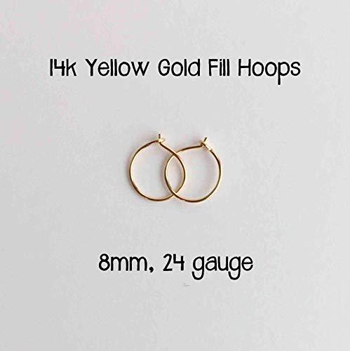 Everyday Hoop Earrings 14k Yellow Gold Fill 8mm, 24 gauge. Handmade Extra Thin Hoop - Small Earrings Hoop Gold