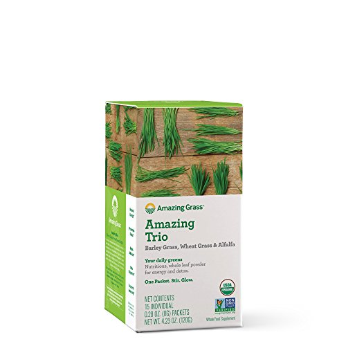 Amazing Grass Greens Trio Greens Powder with Wheatgrass, Alfalfa, Barley Grass, Rich Source of Chlorophyll, 15 Servings