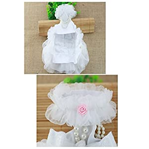 WORDERFUL Dog Wedding Dress Bride Outfit with Pearl Necklace and Rose Pet Princess Formal Apparel for Puppy Cat (M)
