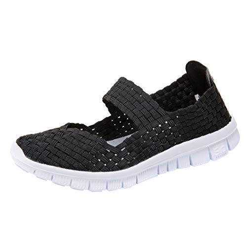 Mary Jane Sneakers for Women,SMALLE◕‿◕ Women's Comfy Breathable Walking Shoes Lightweight Flat Woven Stretc Sneakers Black
