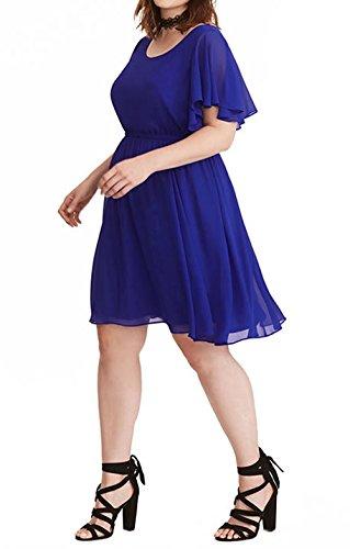 Plisse Robe de Royal Fte Cocktail Grande Courtes Casual Rond Robes Fashion Soire Femmes Manches Court Bleu de t Col Robe Plage pour Taille vSSq56