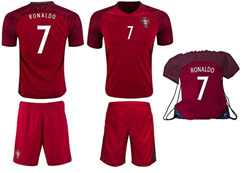 Portugal Ronaldo #7 Soccer Jersey Shorts Kit Kids Youth Sizes YL YM YS (Youth Small 6 to 9 Years, Home Red - Backpack Gift Set) (Soccer Jersey Short Kit)