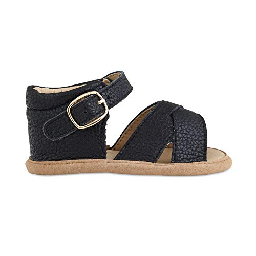 Babe Basics Baby Sandals | Kids Sandals | Toddler Sandals | Genuine Leather Sandals for Girls (0-6 Months Infant, Black)