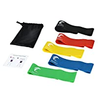 Exercise Resistance Loop Bands Set of 5, 23-Inch Latex Workout Bands for Yoga, Pilates & Physical Therapy with Instruction Manual