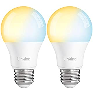 Linkind Smart Zigbee LED 9W A19 Bulb, Dimmable & Tunable, Linkind Hub Required, 2700K-6500K, 60W Equivalent, Compatible with Echo Plus/Echo Show/HUE Bridge/SmartThings Hub/TRADFRI Gateway, Pack of 2