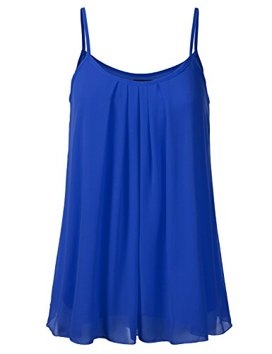 ed Chiffon Layered Cami Cool Short Tank Tunic Top NEWROYAL L (Ruffle Printed Shell)