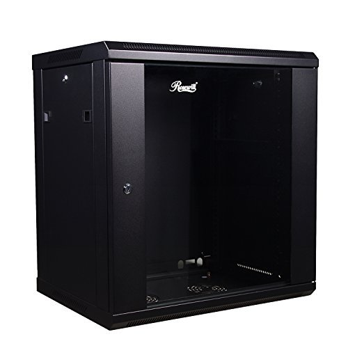 Rosewill Professional 12U Wall mount Cabinet Enclosure 19-Inch Server Network Rack With Locking Glass Door 16-Inches Deep Black (RSWM-12U001)
