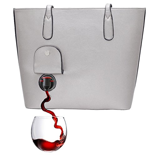 PortoVino Classic Wine Purse (Dove Grey) - Fashionable purse with Hidden, Insulated Compartment, Holds 2 bottles of Wine! by PortoVino