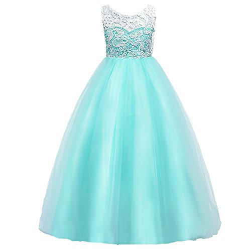 Dress Aqua Kids - HUANQIUE Girls Lace Wedding Party Dress Bridesmaid Flower Girl Maxi Dresses Aqua 7-8 Years