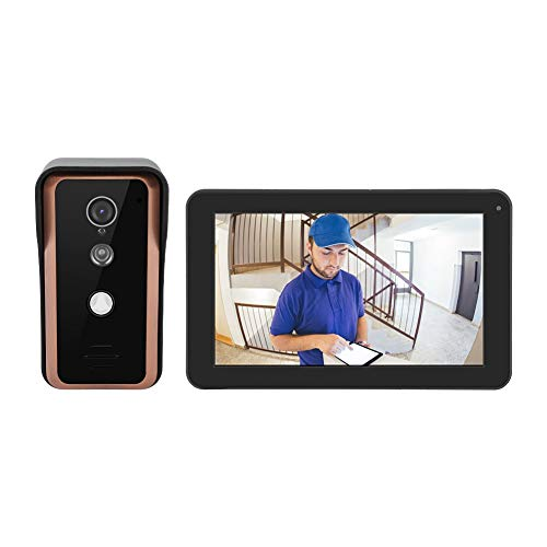 9 Inch Wireless Smart IP Video Door Phone Intercom System Doorbell Entry System with 1000TVL Analog High-Definition Camera IR Cut Night Vision APP Control for Home Security(US Plug) ()