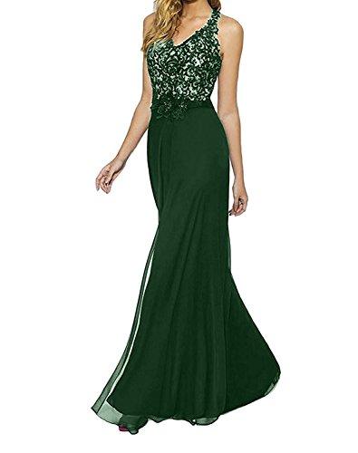 Bodenlang Neckholder Partykleider Elegant Festlichkleider Braut La Gruen Spitze Abendkleider mia Blau Dunkel Brautmutterkleider Etuikleider wZX4avq