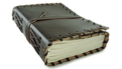 """Pocket Size Leather Journal Diary Dark Chocolate Rustic 5"""" x 3.5"""" Handmade Paper 100 Pages"""
