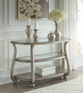 Signature Design by Ashley T820-4 Coralayne Traditional Glass Top Sofa Table, Silver Finish (Traditional Timeless Sofa)
