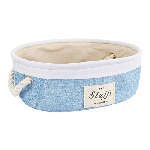 uxcell Foldable Fabric Storage Basket Bin, Collapsible Storage Organizer Cube with Cotton Rope Handles, Laundry Hamper for Closet Shelf Clothes Toys Books (Oval,Light Blue)