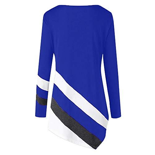Camicie shirt Striscia Lunga Asimmetrico Bluse Camicetta Top Donna Body Casuale Ladies Tops Manica Autunno Scuro Anmain Blu T Camicia Sciolto CF6zXn