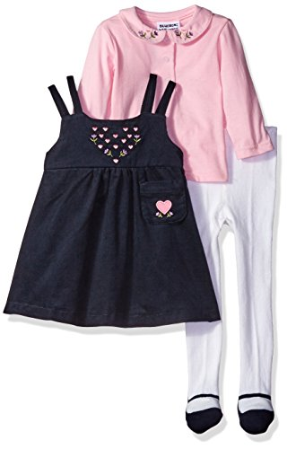 Blueberi Boulevard Baby Girls' Corduroy Jumper Set, Navy/Pink Multi, 18 Months ()