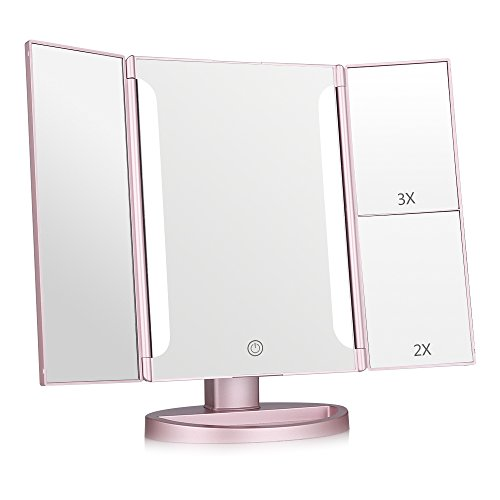 Easehold Lighted Makeup Mirror, 2X 3X Magnifiers Vanity Mirror with Upgraded Eye-Caring -