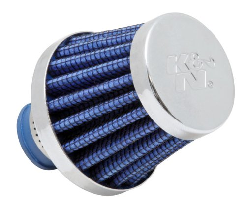 K&N 62-1600BL Vent Air Filter / Breather: Vent Air Filter/ Breather; 0.375 in/0.5 in (10 mm/13 mm) Flange ID; 1.75 in (44 mm) Height; 2 in (51 mm) Base; 2 ()