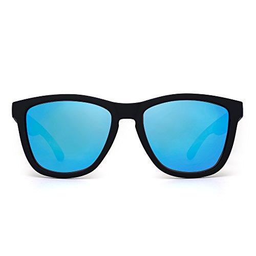 Retro Polarized Wayfarer Sunglasses Refective Mirror Lens Eyeglasses Men Women (Matte Black / Polarized Mirror - Wayfarer Matte Blue