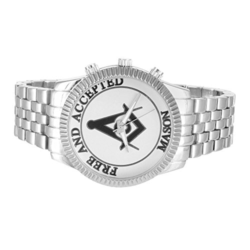 Mens Freemason Symbol Watch 14K White Gold Tone Free And Accepted Unique Jubilee