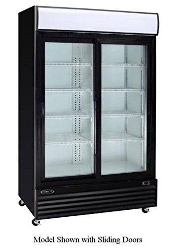 Empura EGM-50B 50 cubic feet Double Swing Glass Door 52.4″ Merchandiser Refrigerator with Double Pane Locking Doors and Adjustable Shelves, Black Exterior